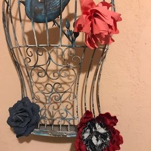 Accessories - Denim, Red, And Pink Rose Clips (Hair and Clothes)